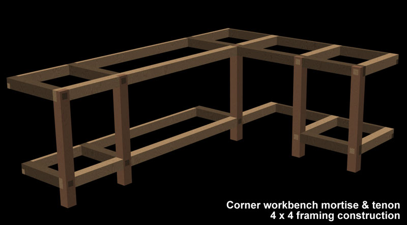 Garage/Shop Corner L-shape Workbench Design