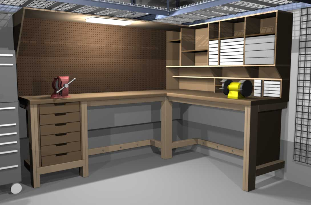Garage Shop Corner L Shape Workbench Design Woodworking
